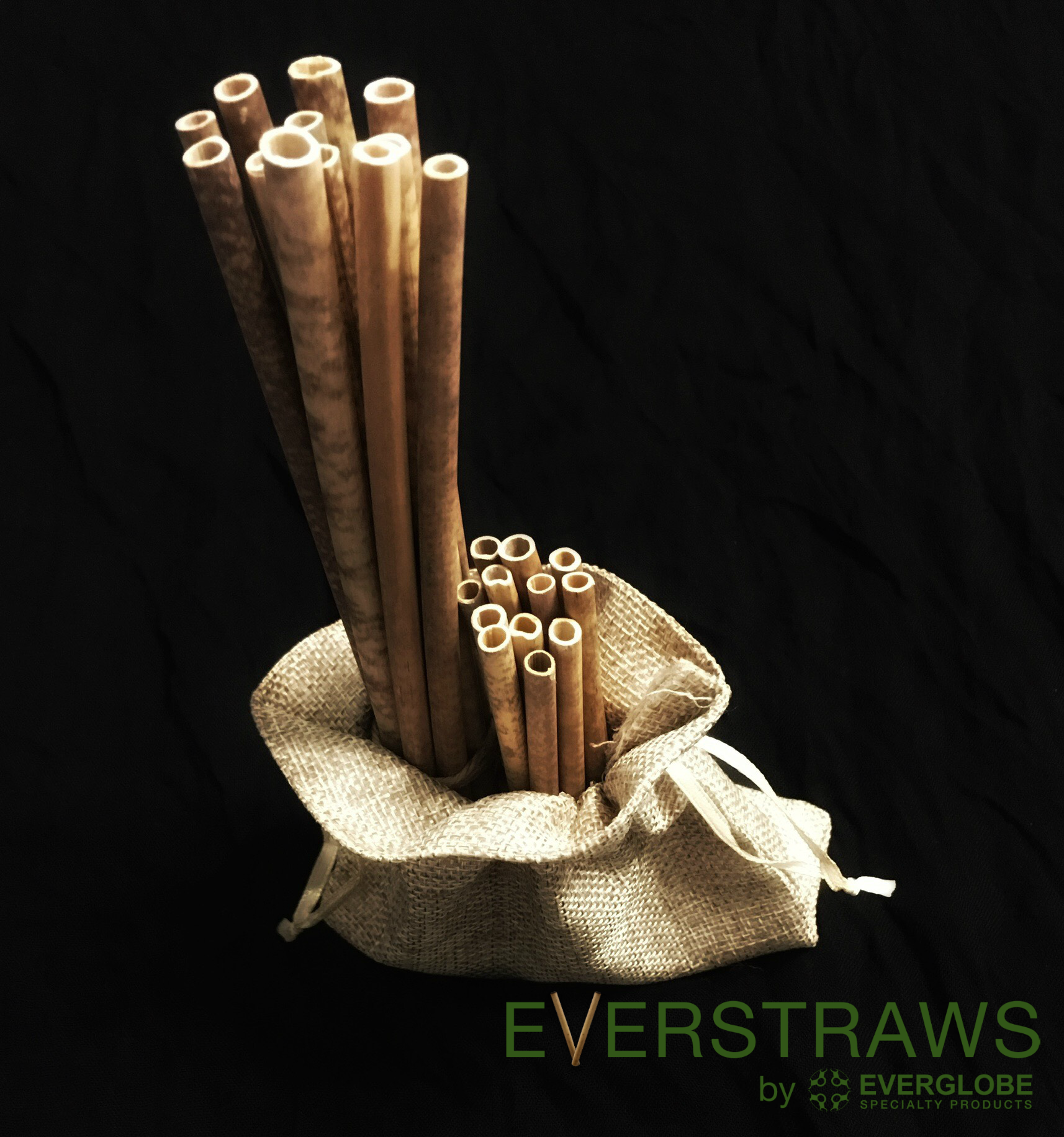 bamboo straws in 5 and 8 inch size in a fabric bag.
